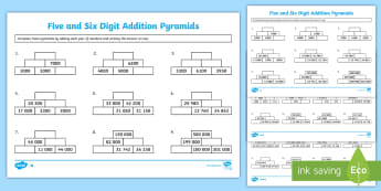5/6 Digit Addition Pyramids Activity Sheet - Addition Pyramids Worksheet - addition pyramids, addition worksheets, ks2 addition, ks2 addition pyr