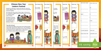 Chinese New Year Lantern Festival Differentiated Reading Comprehension Activity English/Afrikaans - January, traditions, festivals, countries, literacy, lande, geletterdheid, EAL