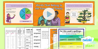PlanIt Y6 Term 1B W4: Word Families Based on Common Words Spelling Pack