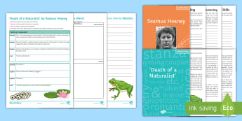 'Death of a Naturalist' by Seamus Heaney Activity Sheets - Heaney, Death, Naturalist, KS4, Literature, Poetry, Eduqas, worksheets