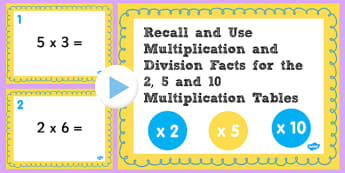 Multiplication Division Facts 2 5 10 Times Table PowerPoint Test, multiplication, division, 5s, 10s, 2s