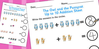 The Owl and the Pussycat Up to 10 Addition Sheet - add, adding