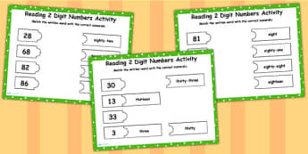 Reading 2 Digit Numbers Flipchart Matching Activity - numeracy