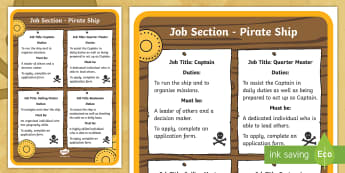KS1 Pirate Ship Job Advert  Activity - Career, Motivation, Ambition, Interview, Questions, Answers