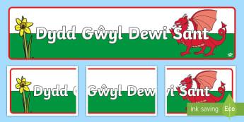 St David's Day Display Banner - Display border, border, display, Dewi sant, St David, daffodil, Wales, cymru, leek, parade, patron saint,welsh