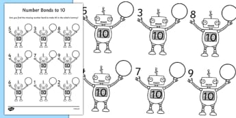Number Bonds to 10 on Robots Worksheet - number bonds, 10, robots, worksheet