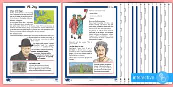 KS2 VE Day Differentiated Comprehension Go Respond Activity Sheets - KS2 VE day, KS2, VE day, Victory in Europe, 8th May, VE Day, year 3, year 4, year 5, year 6, yr 3, y