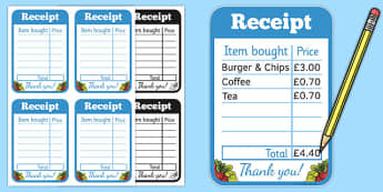 Restaurant Role Play Receipt - food, roleplay, props, eating