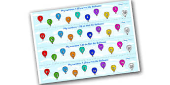 1-20 on Hot Air Balloons Number Strips - Maths, Math, number track, hot air balloon, Numberline, Number line, Counting on, Counting back, counting, space
