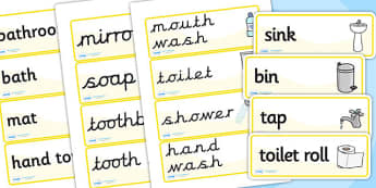 Bathroom Word Cards - houses and homes, house, home, bathroom, Word cards, Word Card, flashcard, flashcards, brick, stone, detached, terraced, bathroom, kitchen, door, caravan, where we live, ourselves
