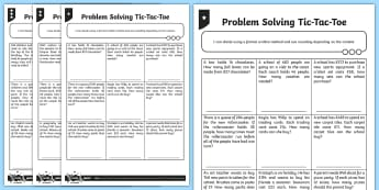 Differentiated Problem Solving Tic-Tac-Toe Activity Sheets - Addition, Subtraction, Multiplication and Division, word problems, worksheets, year 6, sats, long di