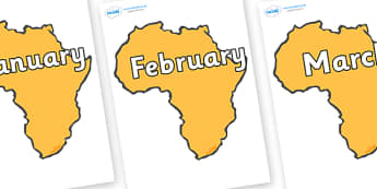 Months of the Year on Africa - Months of the Year, Months poster, Months display, display, poster, frieze, Months, month, January, February, March, April, May, June, July, August, September