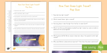 The Speed of Light Pop Quiz - Light, energy, scientists, forces, earth, sun, assessment
