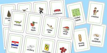Three Syllable CR Flash Cards - three syllable, cr, flash cards, flash, cards, cr sound