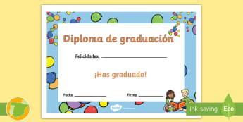 Diploma: Graduación - diploma, graduación, fin de curso, fin de primaria, graduar, premio, ,Spanish