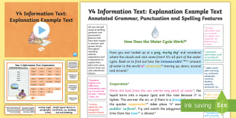 Y4 Information Texts: Explanation Model/Example Text - Example Text, WAGOLL, text analysis, features, genre, text type, writing, explanation, explain, exem, ARE, age-related example, model, model text, age-related model