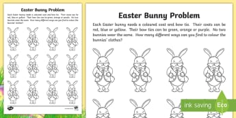 Easter Bunny Problems Activity - Colour, maths, different, choice, create, distinguish, Easter, read, instructions,