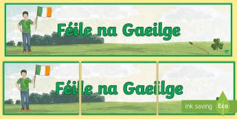 Irish Festival (Féile na Gaeilge) Display Banner - seachtain na gaeilge, celebrations, shamrock, Irish landscape ,Irish, annual, tradition, poster