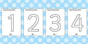 Colouring Numbers (0-9) - colouring numbers, colouring sheet, 0-9 colouring, 0-9, number formation, number writing practice, foundation stage numeracy, writing, learning to write