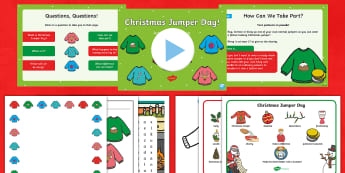 KS1 Christmas Jumper Day Resource and Activity Pack - Save the children, Make the World Better With a Sweater, Pullovers to pounds, Celebrations, Fundrais