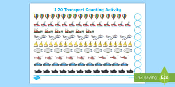Transport 1-20 Counting Activity Sheet  - My Counting Worksheet (Transport) - Counting worksheet, transport, counting, activity, how many, fou, 1:1 correspondance