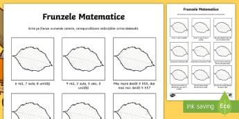 Frunzele... matematice - Fișă de lucru - frunze, toamnă, matematică, joc, numere, numerație, sute, zeci, unități,Romanian