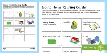 Going Home Keyring Cards - independent information, ks2, ks3, PSHE, behaviour, homework, equipment, reminder