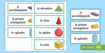 Cartes de vocabulaire : Les formes en 3D - formes en 3D, formes, géométrie, formes 3d, mathématiques, 3D Shape Word Cards - 3D