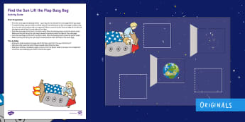 Back to Earth with a Bump Find the Sun Lift the Flap Busy Bag Resource Pack for Parents - Hal, Sun, Moon, Space, Twinkl Fiction, Twinkl stories