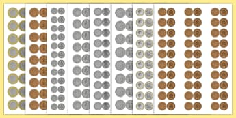 Maths Intervention Realistic Size British Coins - SEN, special needs, maths, money, counting money, recognising money, adding money, coins, notes