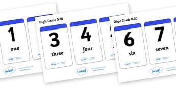 Number & Word Digit Cards 0-30 - ESL Number Resources