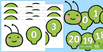 Numbers 0-20 on a Caterpillar Number Line - Number, minibeasts, ELG, mathematics, early years, counting, adding, number line, caterpillar,