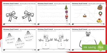 Christmas Pencil Control Activity Sheets English/Romanian - Christmas Pencil Control Sheets - christmas, pencil control, sheets, pencil, EAL