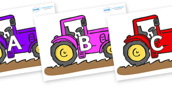A-Z Alphabet on Tractors - A-Z, A4, display, Alphabet frieze, Display letters, Letter posters, A-Z letters, Alphabet flashcards