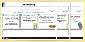 Fundraising Multiplication and Division Differentiated Problem-Solving Activity Sheets - Multiplication and Division, time, measures, length, capacity, money, problem solving, word problems