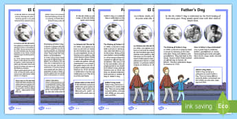 KS1 Father's Day Differentiated Reading Comprehension Activity English/Spanish - Father's Day, KS1 reading, celebrations, events, non-fiction, comprehension, questions, fact file,