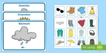 Weather Clothes Sorting Activity Gaeilge - Aimsir, éadaí, gníomhaíocht sórtáil, weather and clothes sorting activity, Irish
