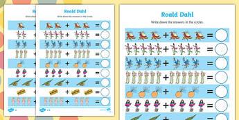 Roald Dahl Addition Sheet - roald dahl, addition sheet, roald dahl addition sheet, maths aid, roald dahl themed, themed addition sheets