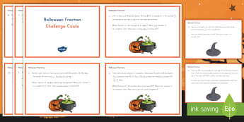 Halloween Adding and Subtracting Fractions with Unlike Denominators Challenge Cards - fractions, math, challenge cards, flashcards, Halloween