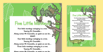5 Little Monkeys Nursery Rhyme Poster - rhymes, poems, display