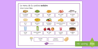 School Canteen Food and Drinks Word Mat French - KS3, meals, cantine, repas, scolaire, menu, eating, drinking, health