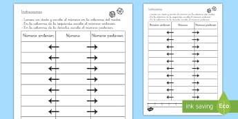 Ficha de actividad: Uno más, uno menos - uno más, uno menos, ficha, números, número anterior, número posterior, mates, matemáticas, núm