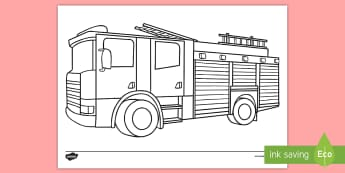 Fire Engine Colouring Page - fire engine, fire fighters, fire, people who help us, fire brigade,