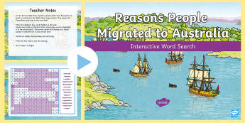 Reasons People Migrated to Australia Interactive Word Search - Australia, HASS, history, geography, migration, migrate, stories, colony, convicts, family histories