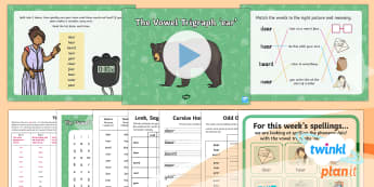 PlanIt English Y1 Term 3A W6: vowel trigraph 'ear' Spelling Pack - Spellings Year 1, Term 3A, W6, vowel, trigraph, ear