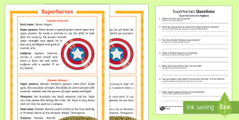Superheroes Differentiated Reading Comprehension Activity English/Italian -  KS1, reading, comprehension, differentiated, superheroes, superhero, real life hero, Captain Americ