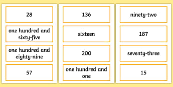 Reading Numbers Up to 200 Card Activity - Number and Place Value, number value, written numbers, numerals, read and write numbers, written for