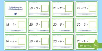 Subtraktion bis 20 Zahlenstrahl - Subtrahieren, minus, minus rechnen, Zahlenstrahl, Karteikarten,German