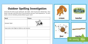 Spelling 'ea' Outdoor Activity Pack - CfE Outdoor Learning, nature, forest, woodland, playground, spelling, outdoors, sentence, grammar, g