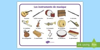 Set de mots : Les instruments de musique - musique, music, instruments de musique, orchestre, orchestra, violon, guitare, piano, flûte, cor, p